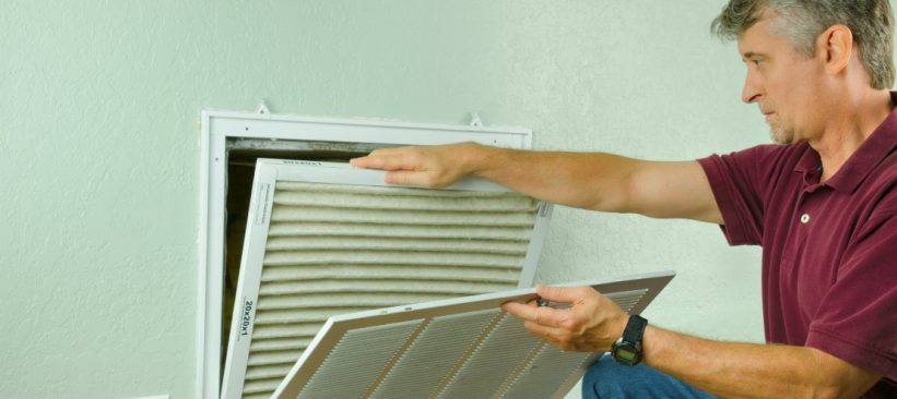 Changing an indoor air filter on an indoor air conditioning unit