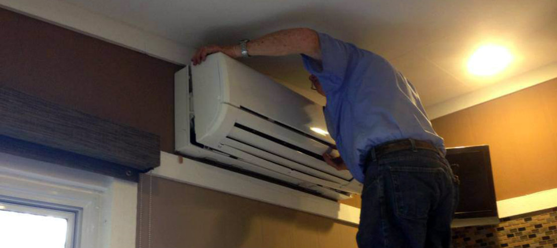 Installing ductless mini-split blower unit