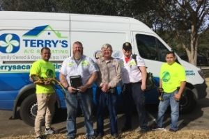 Terry's A/C & Heating's team with founder Rex Terry