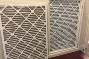 dirty air filter and clean air filter side by side